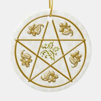 Gold Pentacle, Holly & Oak Ceramic Ornament