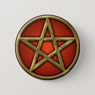Gold Pentacle on Fire 2 Inch Round Button