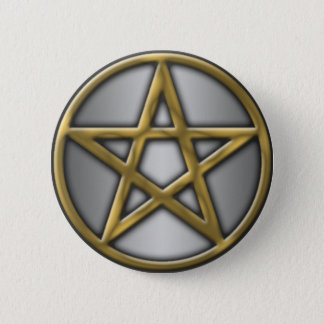 Gold Pentacle on Silver 2 Inch Round Button