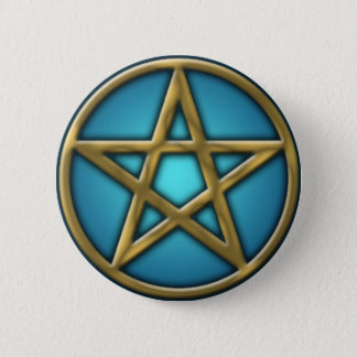 Gold Pentacle on Water 2 Inch Round Button