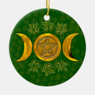 Gold Pentagram Triple Moon Holly Snowflakes Round Ceramic Ornament