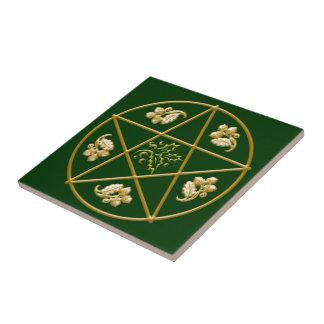 Gold Pentagram, with Oak & Holly - Tile/Trivet #4 Tile