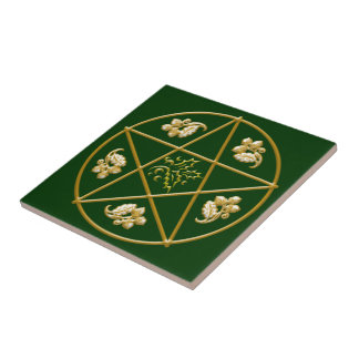 Gold Pentagram, with Oak & Holly - Tile/Trivet #4 Tiles