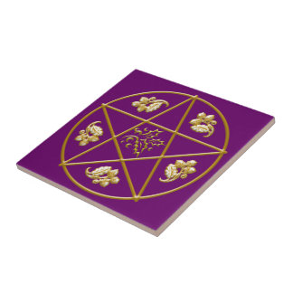 Gold Pentagram, with Oak & Holly - Tile/Trivet #5 Tile