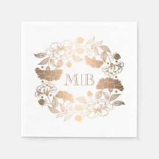 Gold Peonies - Floral Wreath Garden Wedding Paper Napkin
