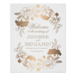Gold Peonies Wreath Elegant Wedding Welcome Sign