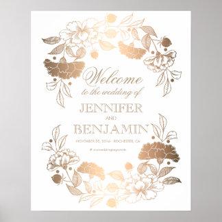 Gold Peonies Wreath Elegant Wedding Welcome Sign