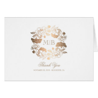 Gold Peonies Wreath White Wedding Thank You Card
