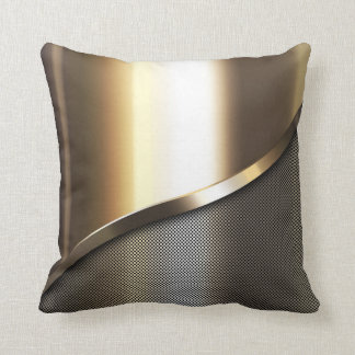 gold perforated steel with chrome and metal throw pillow