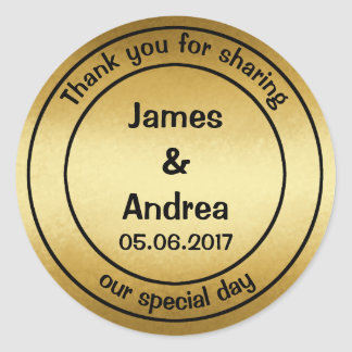Gold, Personalized Thank You Wedding Classic Round Sticker