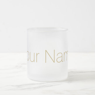 Gold Personalized with Your Name Print Frosted Glass Coffee Mug