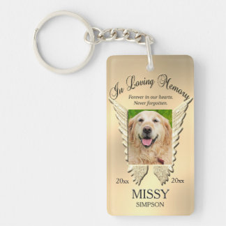 Gold Pet Memorial Double-Sided Rectangular Acrylic Keychain