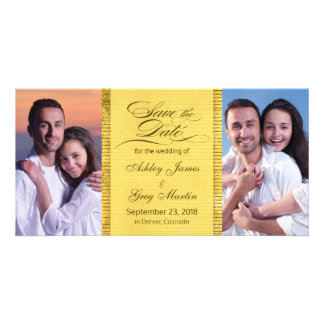 Gold Photo Collage Wedding Save the Date Personalized Photo Card