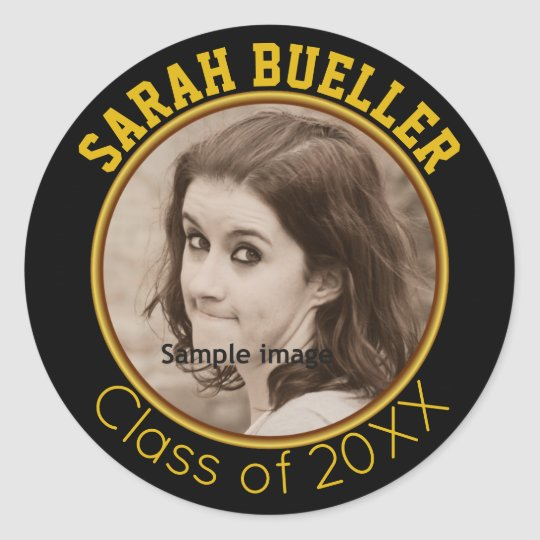 Gold Photo Graduation | Create Your Own Name Year Classic Round Sticker