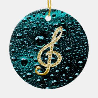 Gold Piano Gclef with rain drop Bakcground Round Ceramic Ornament