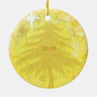 Gold Pine Tree Christmas Family Photo Ornament