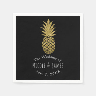 Gold Pineapple Black Modern Chic Tropical Party Disposable Napkins