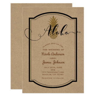 Gold Pineapple & Black Rustic Pineapple Tropical Card