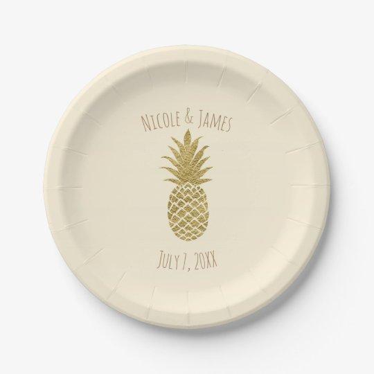 Gold Pineapple Cream Tropical Elegant Wedding 7 Inch Paper Plate