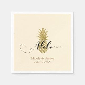 Gold Pineapple Cream Tropical Elegant Wedding Paper Napkins