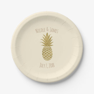 Gold Pineapple Cream Tropical Elegant Wedding Paper Plate
