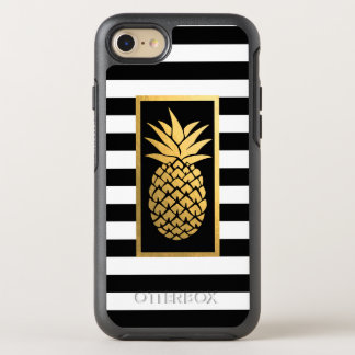 Gold Pineapple Modern Black & White Stripes OtterBox Symmetry iPhone 8/7 Case