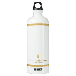 Gold Pineapple Name and City Water Bottle