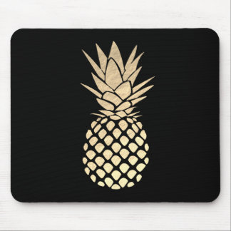 gold pineapple on black mouse pad
