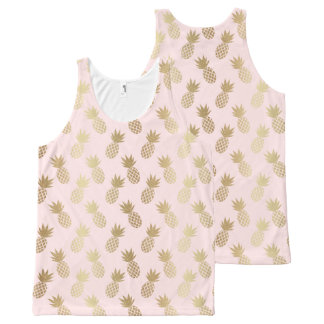 Gold Pineapple Pattern All-Over-Print Tank Top