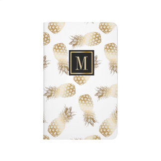 Gold Pineapple Pattern Monogram Initial Modern Journals