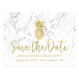 Gold Pineapple White Marble Wedding Save the Date Postcard