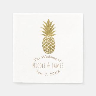 Gold Pineapple White Modern Chic Tropical Party Disposable Napkins