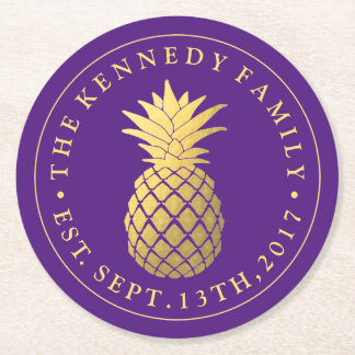 Gold Pineapple | With Family Name & Est. Date Round Paper Coaster