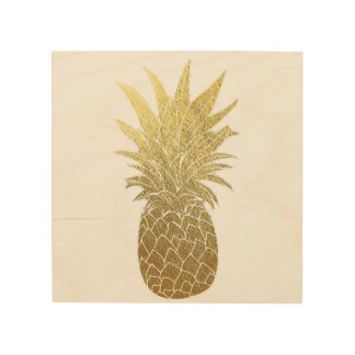 Gold Pineapple Wood Wall Art