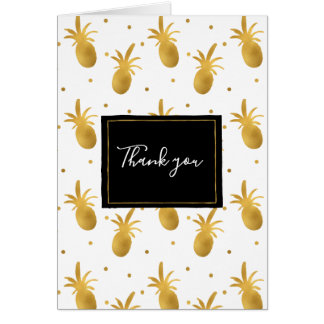 Gold Pineapples and Dots Thank you Card