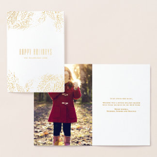 Gold Pinecones and Pine Needles Holiday Foil Card