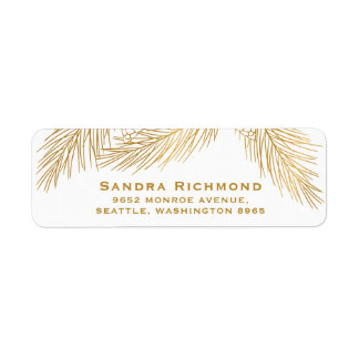 Gold Pinecones and Pine Needles Holiday Label