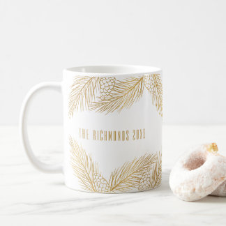 Gold Pinecones and Pine Needles Holiday Mug