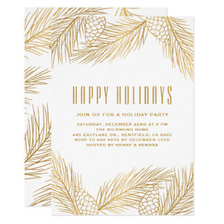 Gold Pinecones and Pine Needles Holiday Party Card