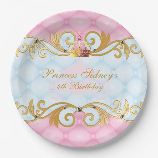 Gold, Pink and Baby Blue Princess Party 9 Inch Paper Plate