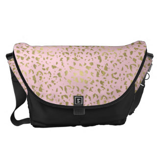 Gold Pink Animal Print Messenger Bag