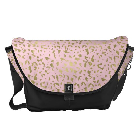 Gold Pink Animal Print Messenger Bag