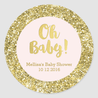 Gold Pink Baby Shower Oh Baby Favor Sticker