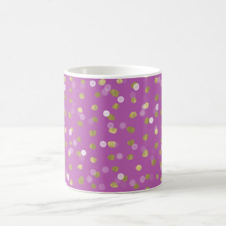 Gold Pink Bokeh Confetti Dots Coffee Mug