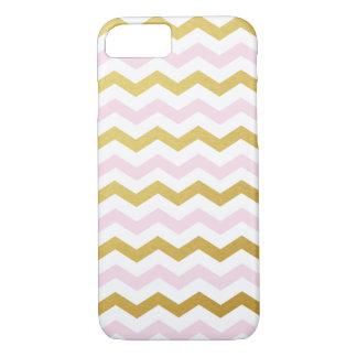 Gold & Pink Chevron Pattern iPhone 7 Case