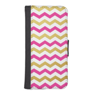 Gold & Pink Chevron Pattern iPhone Wallet Case iPhone 5 Wallet Cases