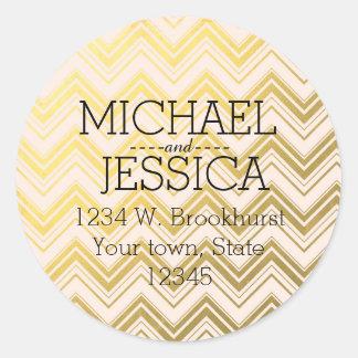 Gold Pink Chevron Personalized address Classic Round Sticker