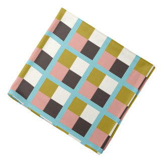 Gold Pink Chocolate Ivory Plaid Bandana