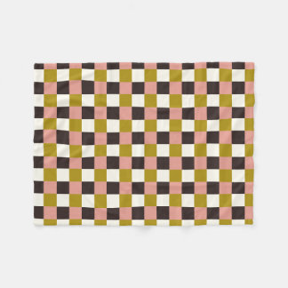 Gold Pink Chocolate Ivory Plaid Fleece Blanket