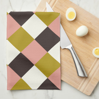 Gold Pink Chocolate Ivory Plaid Kitchen Towel